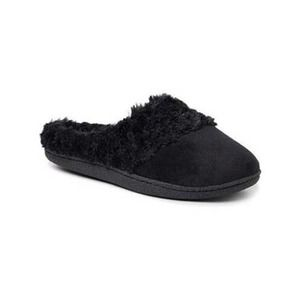 Dearfoams Faux Fur-Accent Velour Slippers Black S